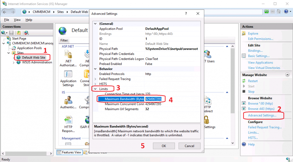 BITs Throttling for SCCM DP - IIS Configuration
