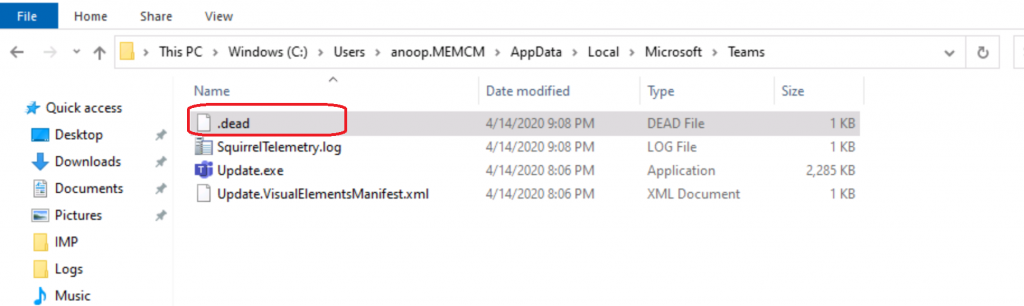 .Dead File Microsoft Teams