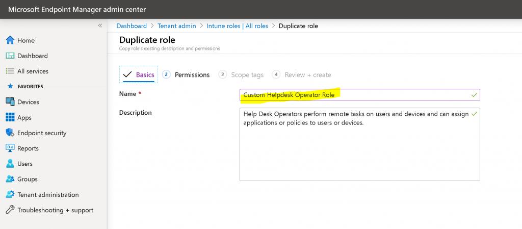 Create Custom Intune Helpdesk Operator Role Deploy 1