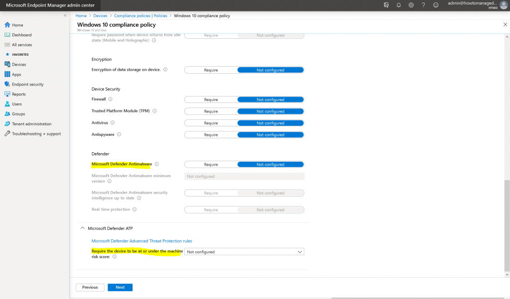 Select the required policies and click on NEXT button - Intune Compliance Policy for Windows 10