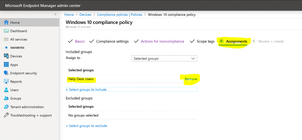 Assignment - Intune Compliance Policy for Windows 10