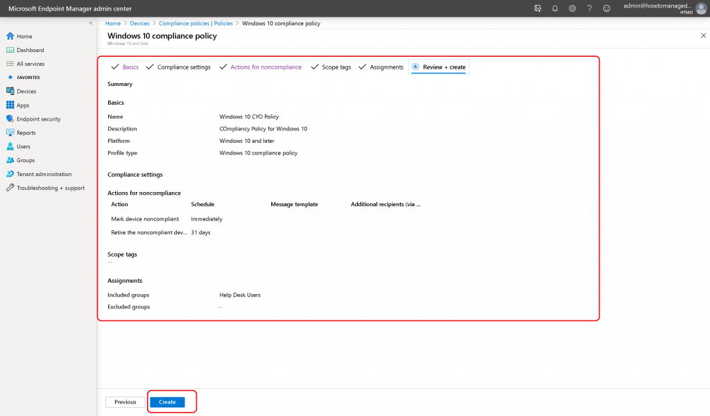 Intune Compliance Policy for Windows 10