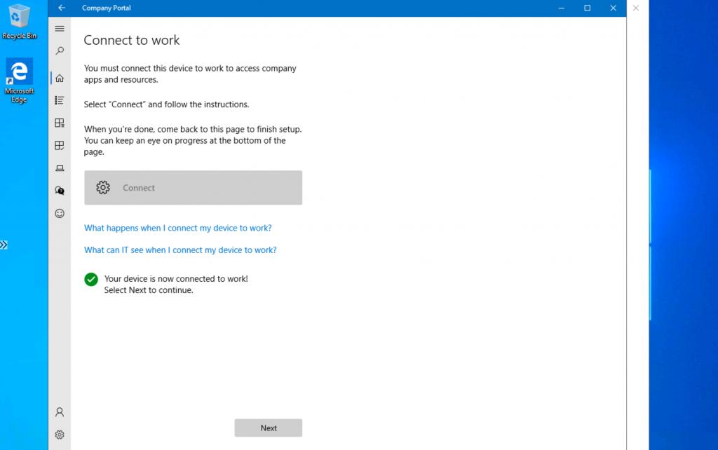 Intune Company Portal Setup for Personal Windows 10 Device Intune Enrollment Options 1