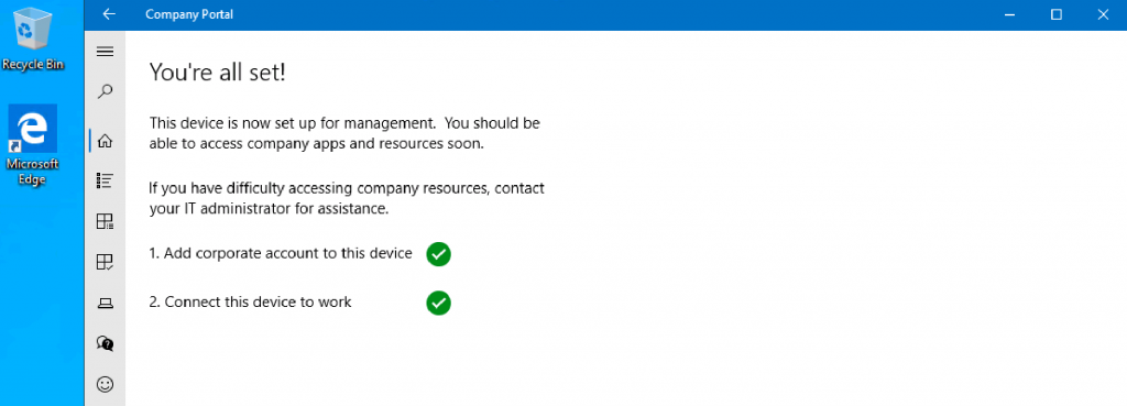 Intune Company Portal Setup for Personal Windows 10 Device Intune Enrollment Options 2