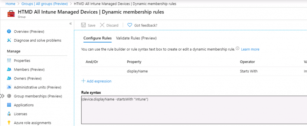 Intune Admins Azure AD Dynamic Queries