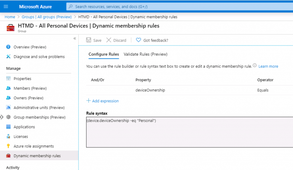 Intune Admins Basic Azure AD Dynamic Device Group Rules   Queries 2