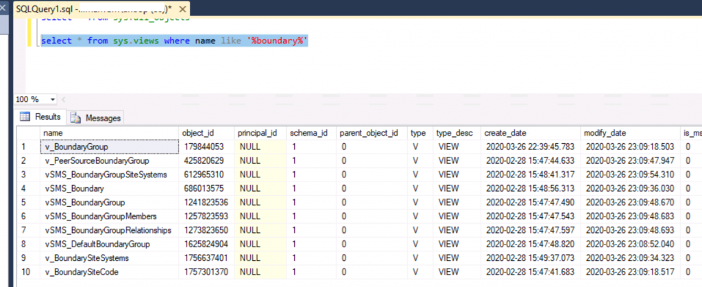 SCCM SQL DB IP Address Views information