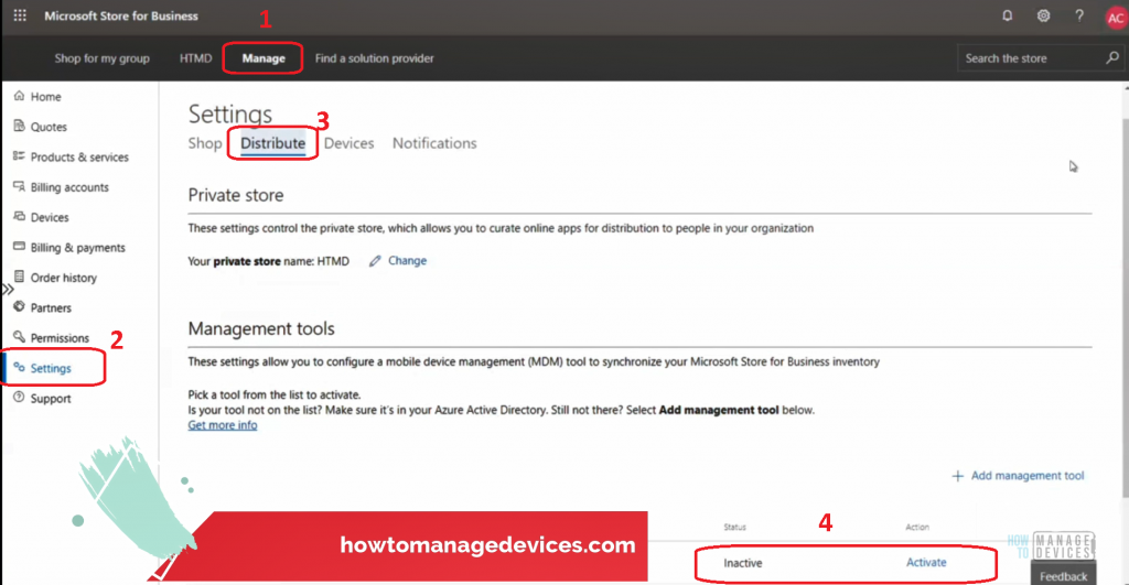 Manage - > Settings -> Distribute - Sync WSfB with Intune