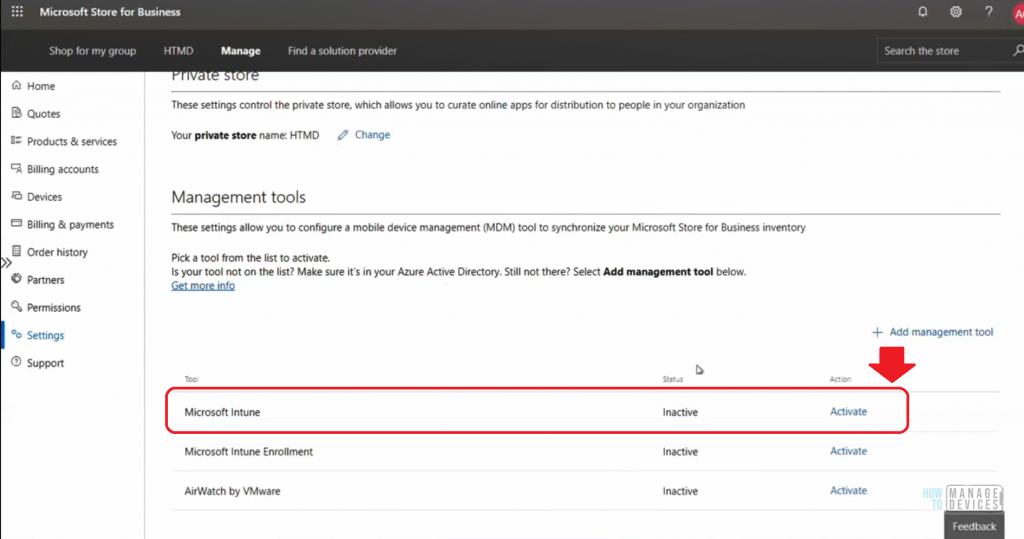 Microsoft Intune Management Tool - Windows Store for Business - Management Tool - Microsoft Intune - Activate