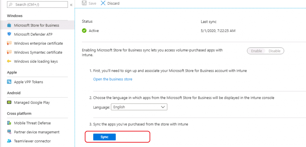 Sync between Intune and Windows Store for Business