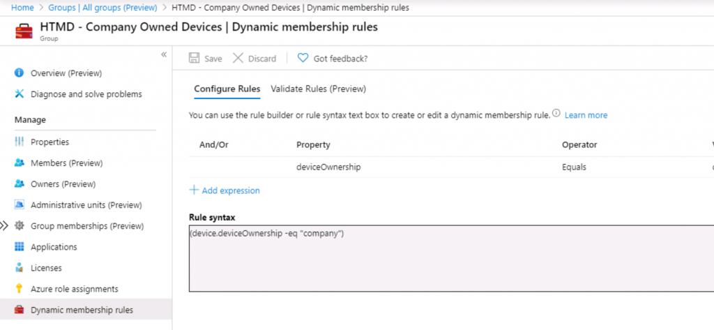 Intune Admins Azure AD Dynamic Device Group
