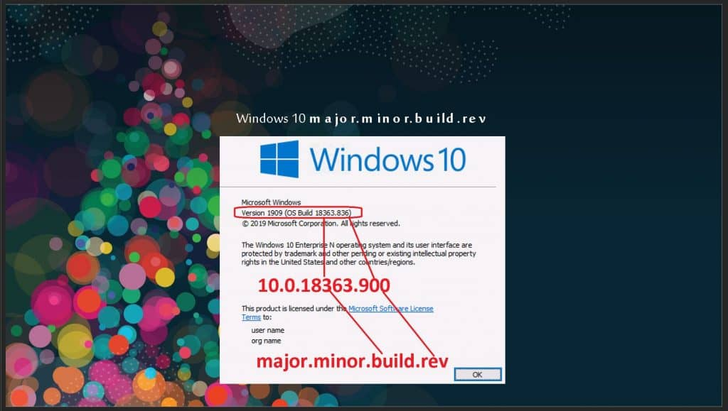 Windows 10 Major Minor Build Rev Intune