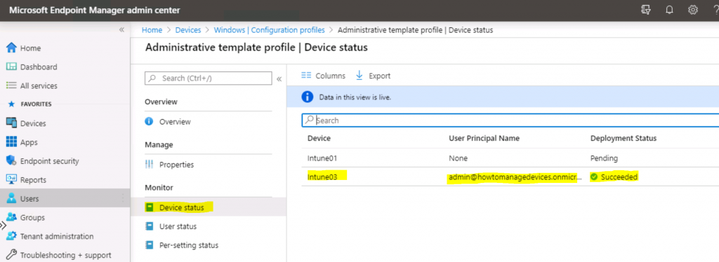 Device Status - Select Assignment - Administrative Template Policy to Block signing into Office