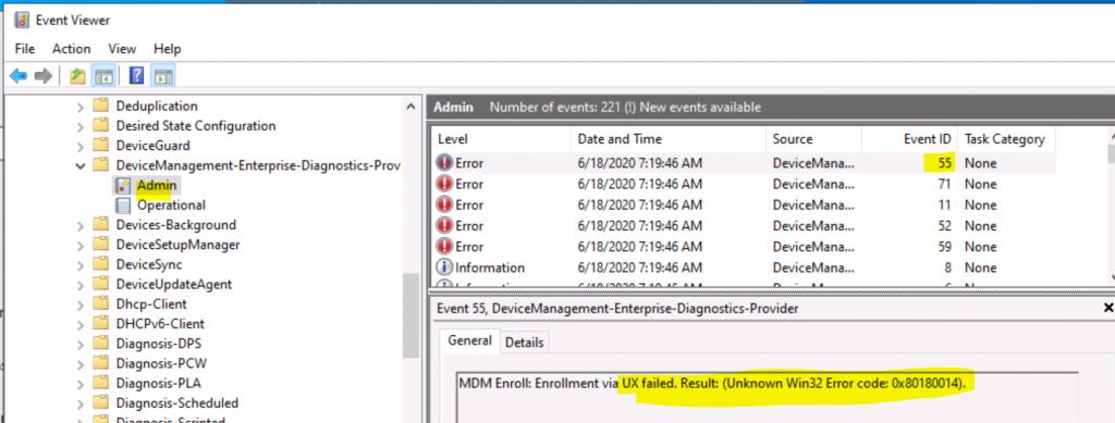 Unknown Win32 Error code 0x80180014