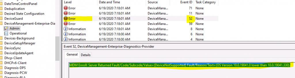 Server Returned Fault Code Subcode Value DeviceNotSupported Intune Enrollment Error