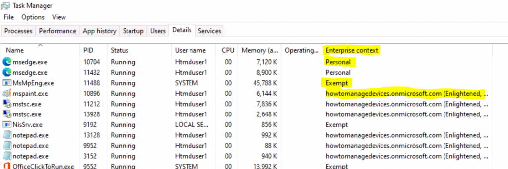 Windows 10 Enterprise Context option in Task Manager Windows Information Protection WIP