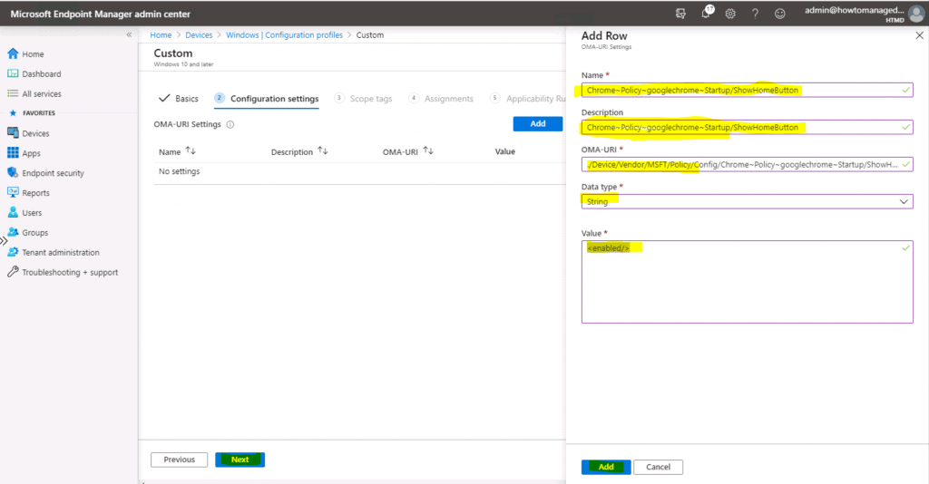 Deploy Chrome ShowHomeButton Enable Policy Using Intune