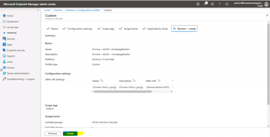 Deploy Chrome ShowHomeButton Enable Policy Using Intune 3