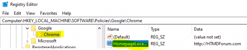 Deploy Chrome Policy HomePageLocation using Intune