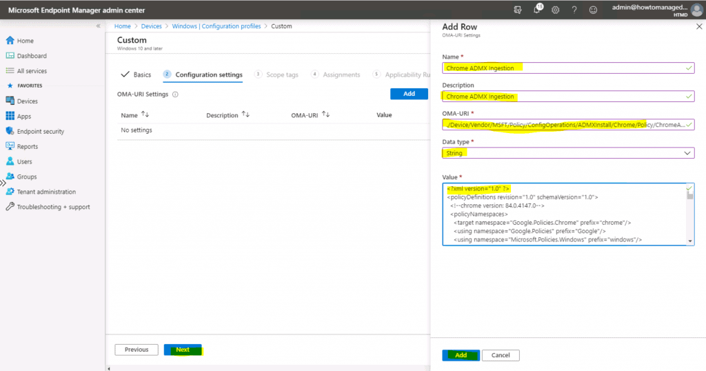 Deploy Chrome ADMX Policies using Intune - Chrome.ADMX