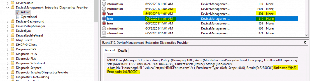 Fix Unknown Win32 Error code 0x82b00001 with ADMX Policies | Intune