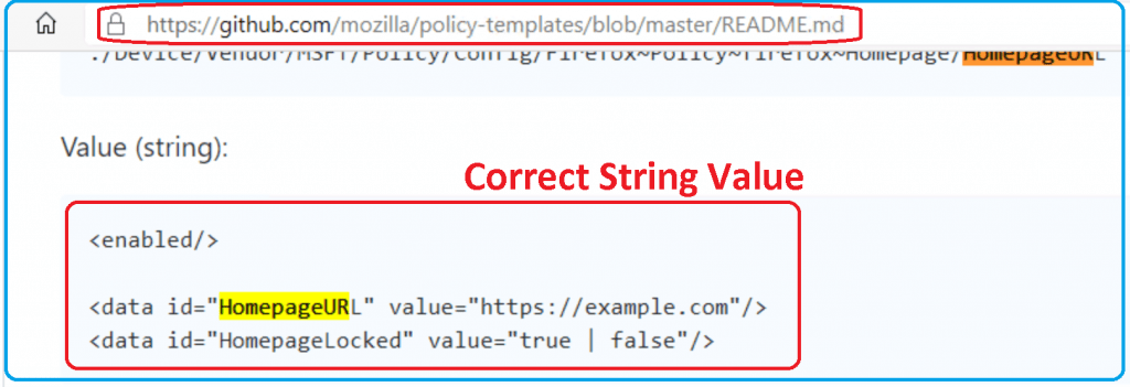 Correct String Value for HomePageURL