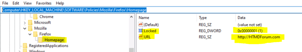 Registry Entry for SOFTWARE\Policies\Mozilla\Firefox\HomepageURL
