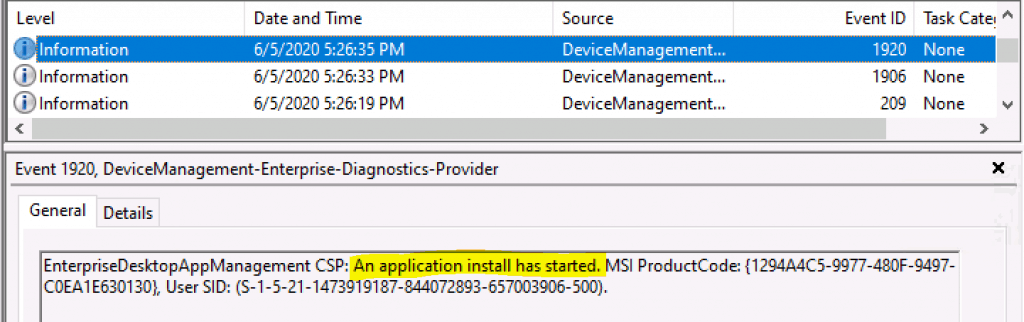 Office 365 ProPlus Deployment Using Intune Troubleshooting via Event Logs
