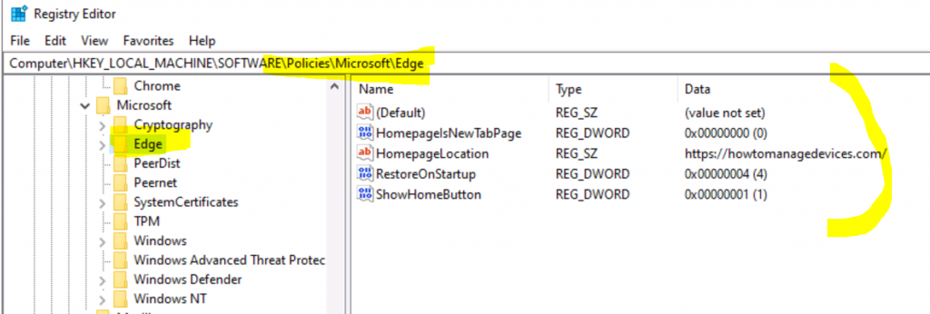 Edge Chromium Home Page Policies Using Intune Administrative Policies 1