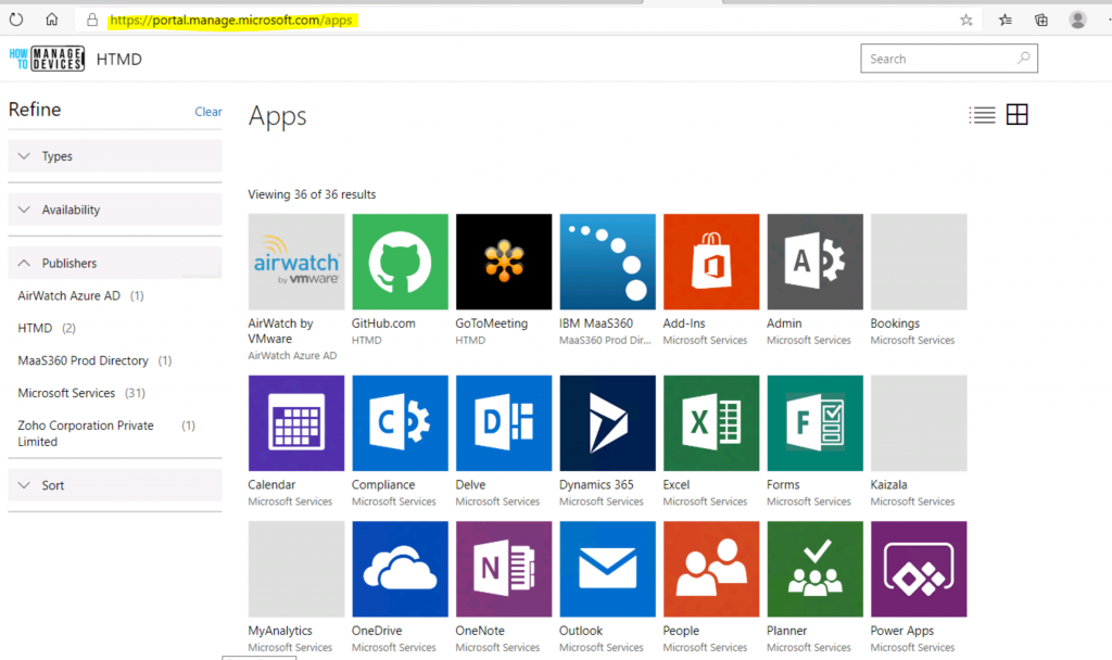 Different End-User Application Portals for Modern Management Intune