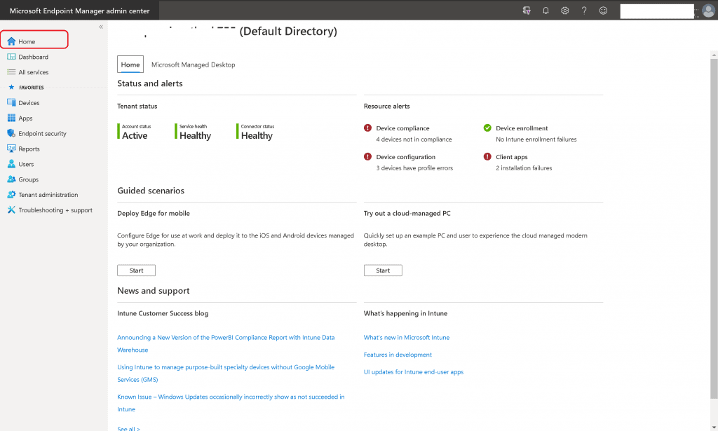 Use EndPoint Portal Stop Using Azure Portal for Intune Admin Related Activities