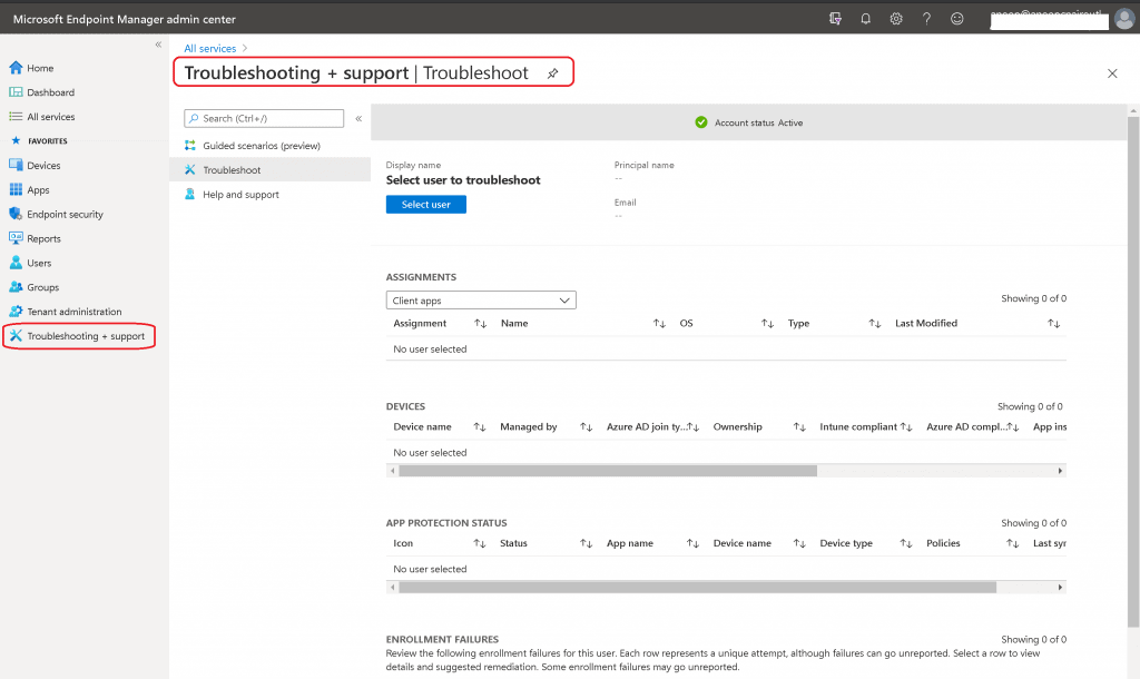 Troubleshooting + Support Blade in Intune MEM portal Intune Endpoint Portal Walkthrough