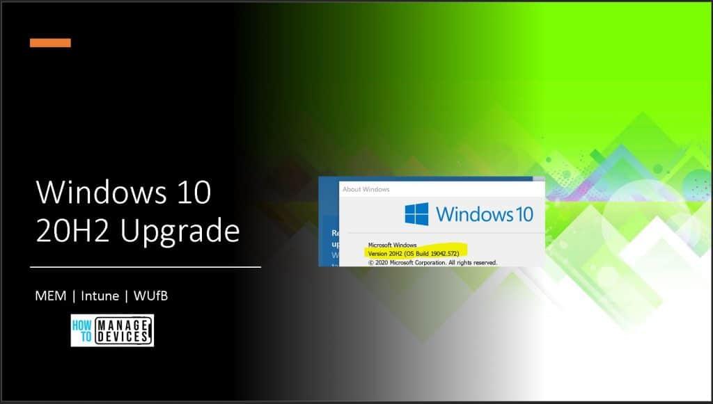 Upgrade Windows 10 version 20H2
