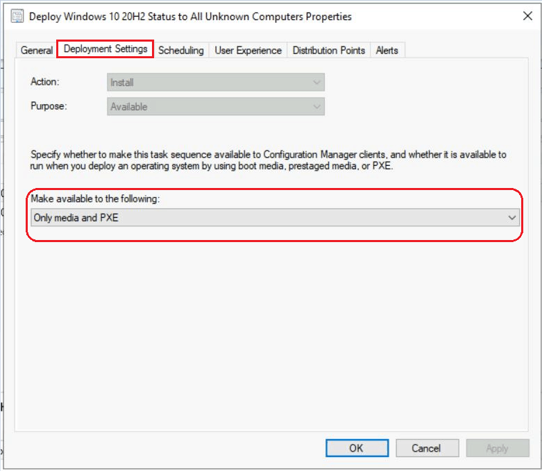 SCCM Task Sequence Available Deployment Options in Distribution Points Tab   ConfigMgr 9