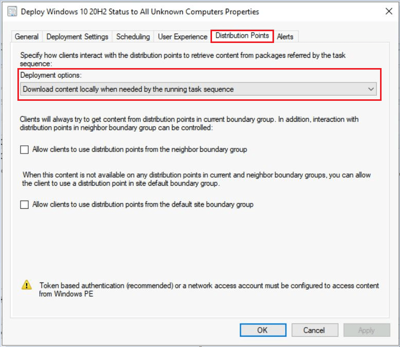 SCCM Task Sequence Available Deployment Options in Distribution Points Tab   ConfigMgr 10
