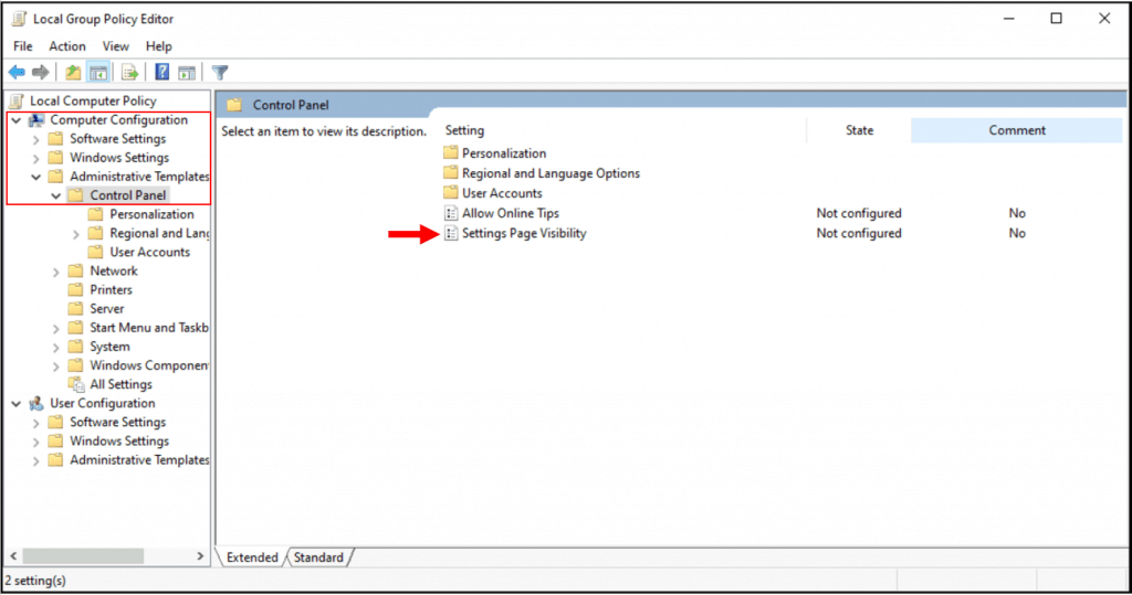How to Hide or Show Pages from Windows 10 Settings App Using Group Policy
