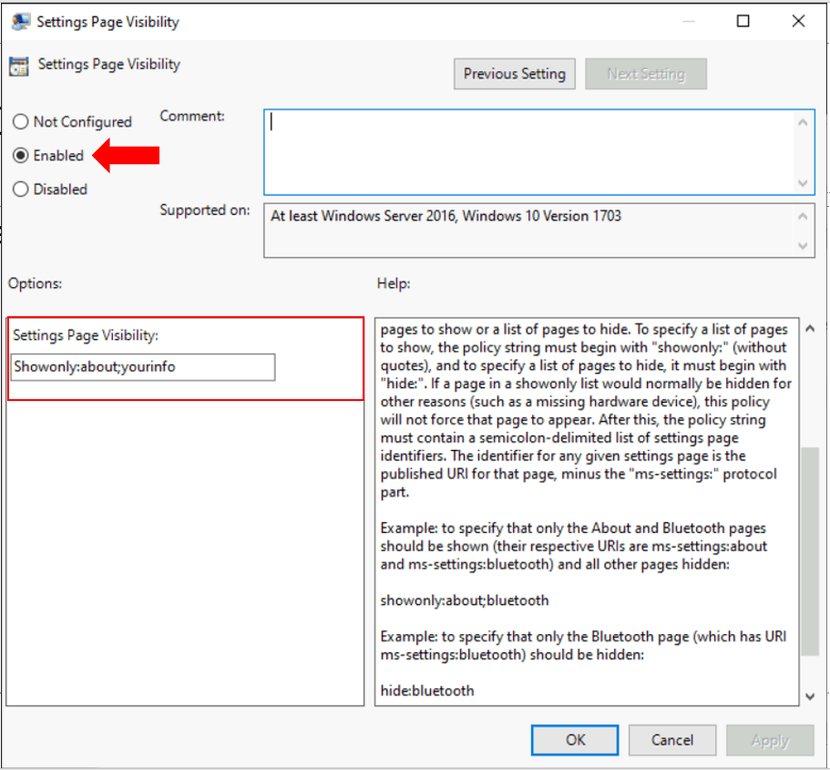 How to Hide or Show Pages from Windows 10 Settings App Using Group Policy 3