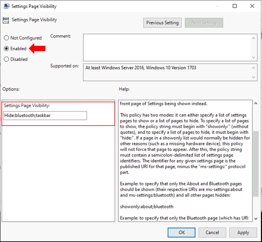 How to Hide or Show Pages from Windows 10 Settings App Using Group Policy 1