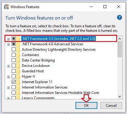 Install .NET Framework 3.5 in Windows 10