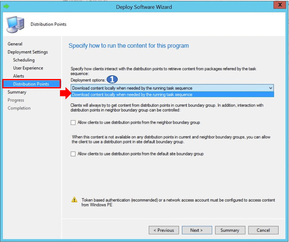 SCCM Task Sequence Available Deployment Options in Distribution Points Tab   ConfigMgr 2