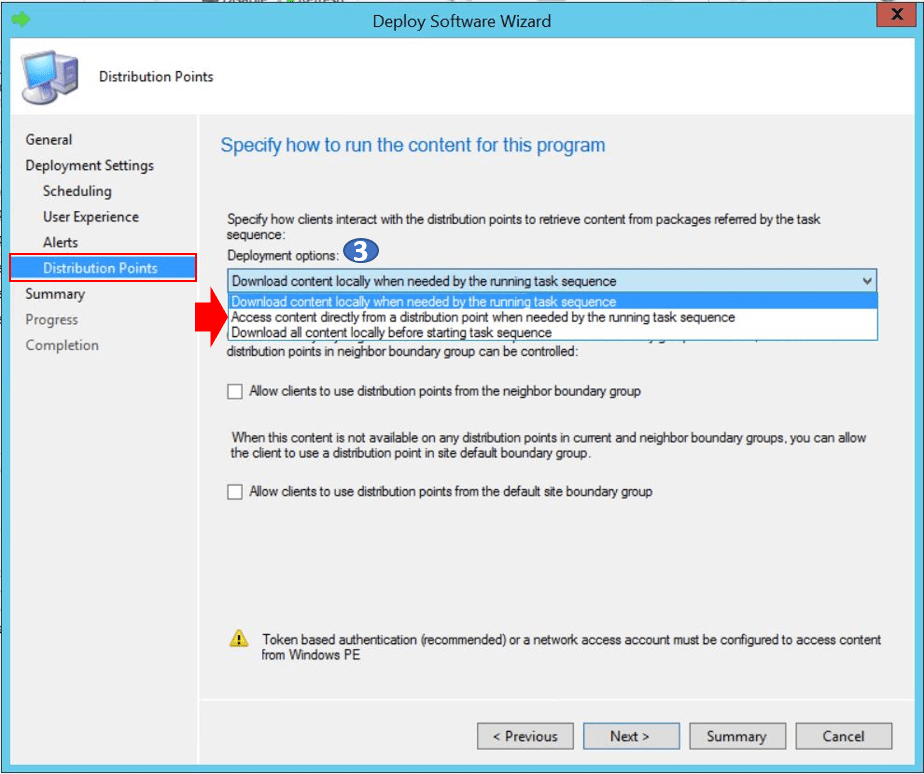 SCCM Task Sequence Available Deployment Options in Distribution Points Tab   ConfigMgr 7