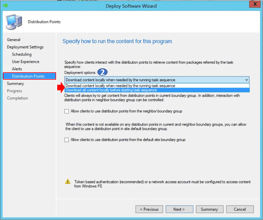 SCCM Task Sequence Available Deployment Options in Distribution Points Tab   ConfigMgr 4