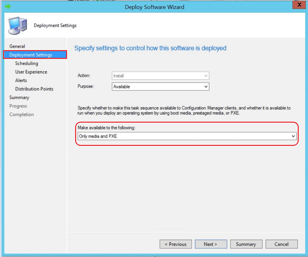 SCCM Task Sequence Available Deployment Options in Distribution Points Tab   ConfigMgr 1