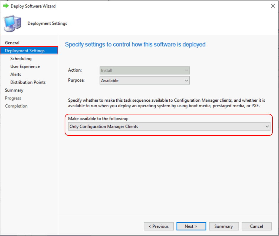 SCCM Task Sequence Available Deployment Options in Distribution Points Tab   ConfigMgr 3