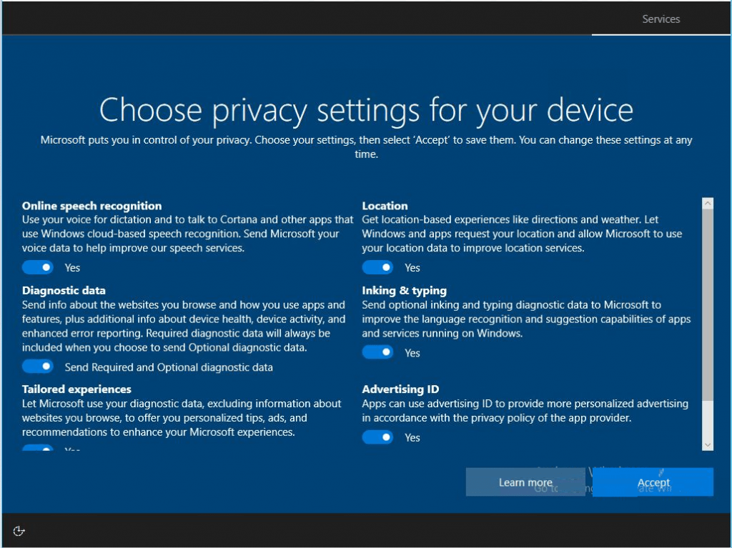Disable Privacy Settings Experience at First Sign-in in Windows 10