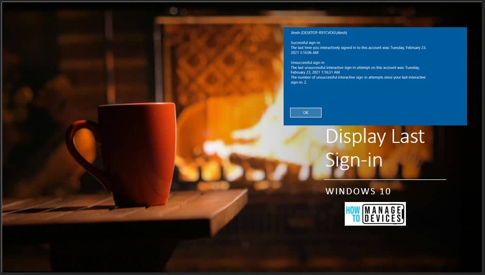 Display Windows 10 Last Sign-in