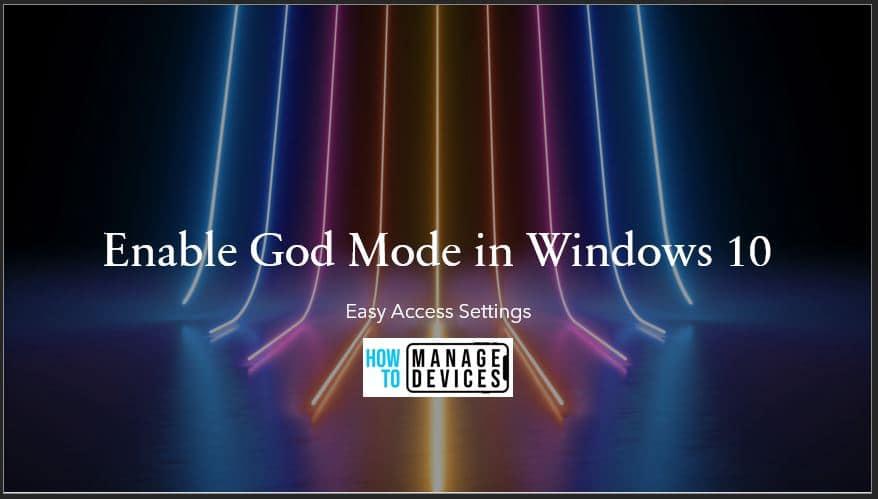 Enable God Mode Windows 10 10