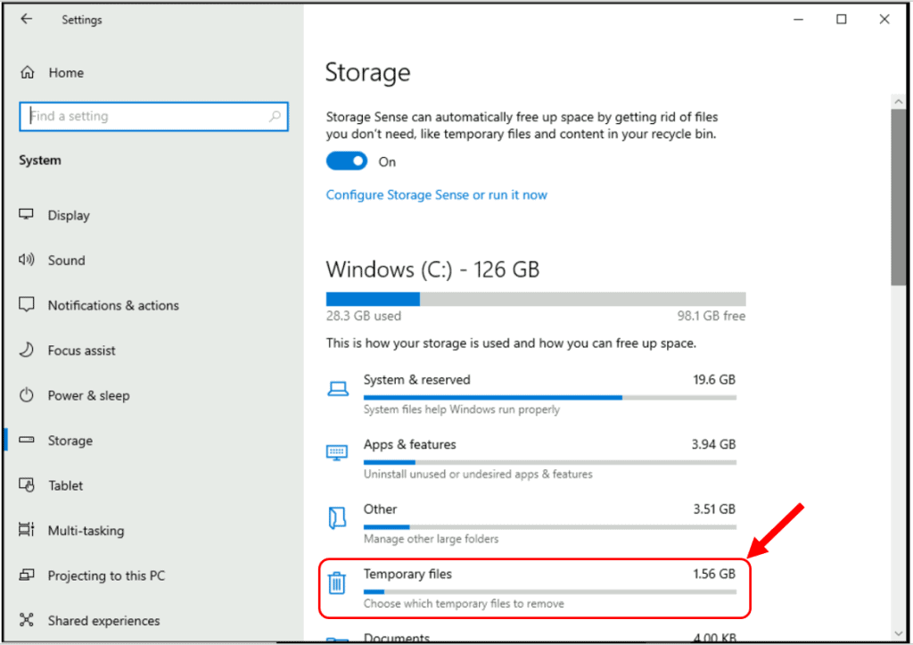 how to Fix Windows 10 Disk Space Issues Automatically with Storage Sense