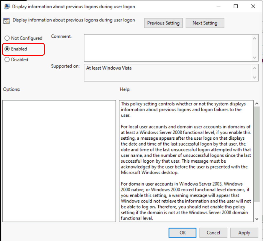 How to Display Windows 10 Last Sign-in Information During User logon