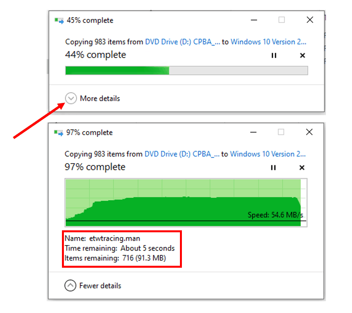 How to Show Fewer or More Details in File Transfer Dialog Box in Windows 10